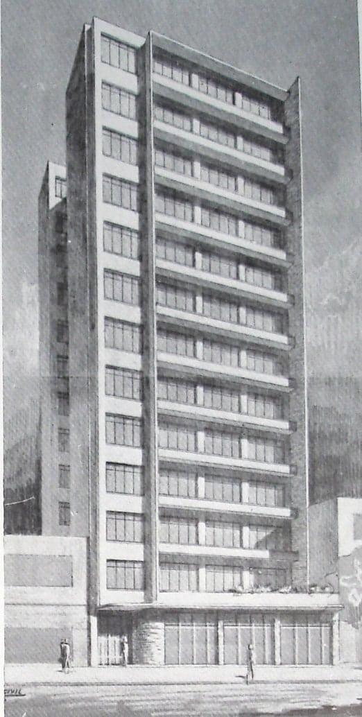 Perspectiva do Edifício Jeanine; desenho de 1952.