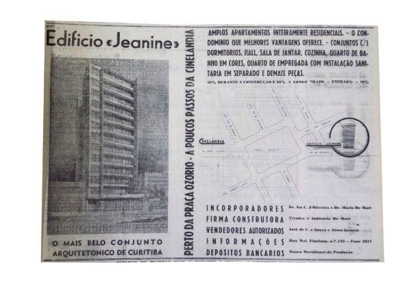 Anúncio de venda dos apartamentos do Edifício Jeanine em 1950.