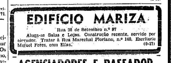 Anúncio de aluguel das salas comerciais do Edifício Mariza em 1950.