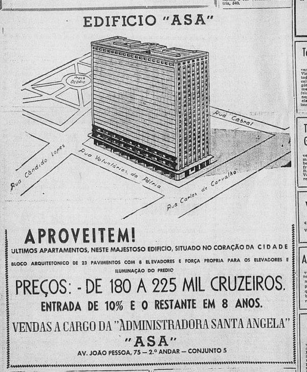 Anúncio de venda dos apartamentos do Edifício Asa em 1955.