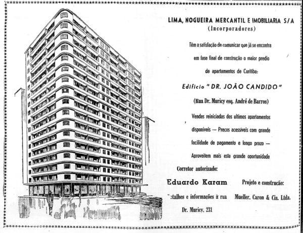 Anúncio de venda dos apartamentos do Edifício Dr. João Cândido em 1955.