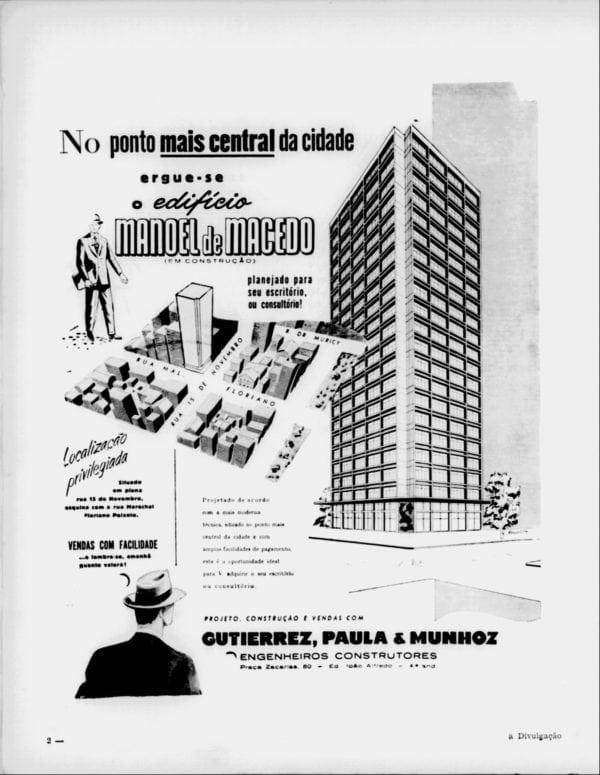 Anúncio de venda das unidades do Edifício Manoel de Macedo em 1955.