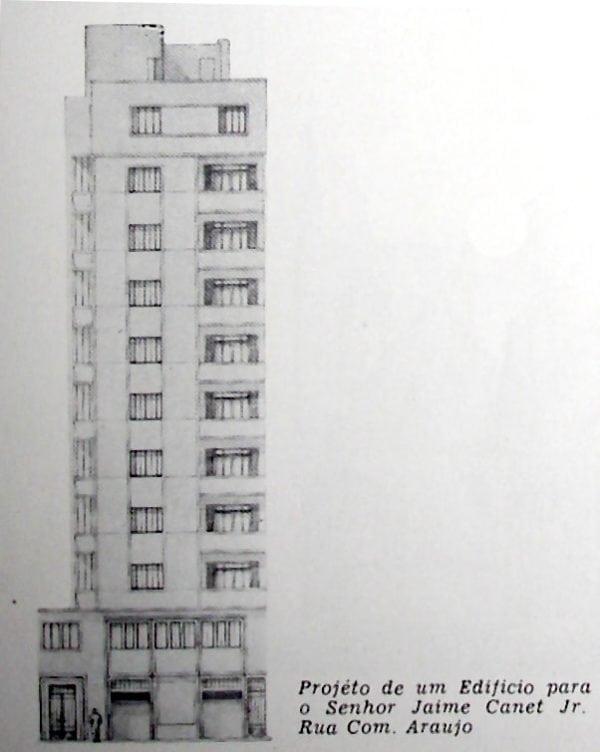 Perspectiva do Edifício Silva Lopes; desenho de 1952.