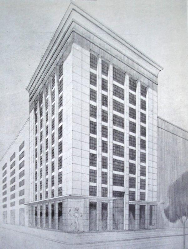 Perspectiva do Edifício da Associação Comercial do Paraná; desenho de 1952.
