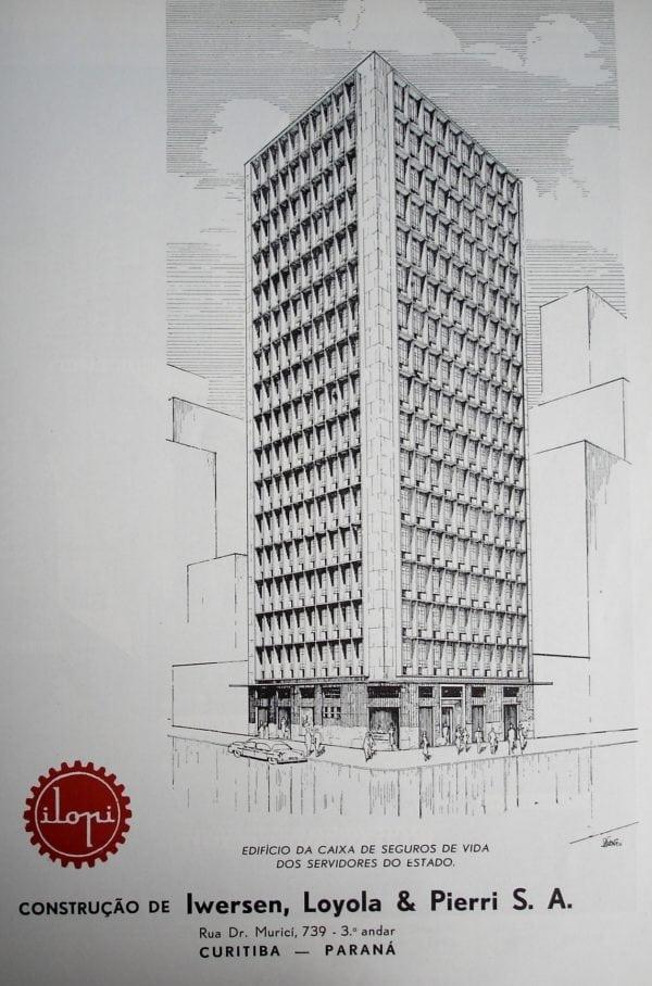 Perspectiva da Caixa de Seguros de Vida dos Funcionários do Estado do Paraná; desenho de 1952.