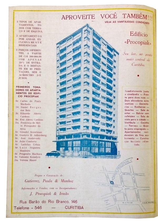 Anúncio de venda dos apartamentos do Edifício Procopiak em 1955.