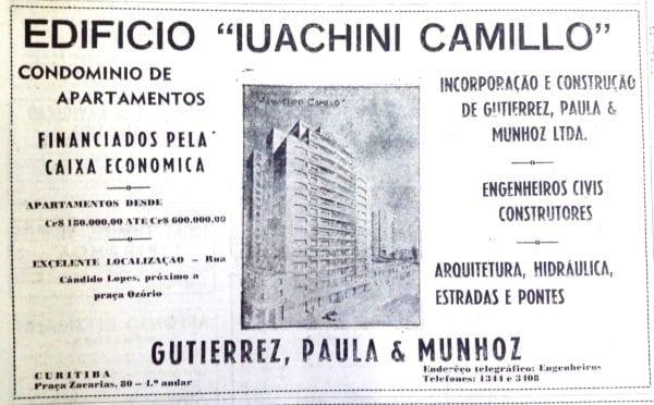 Anúncio de venda dos apartamentos do Edifício Iuachini Camillo em 1952.