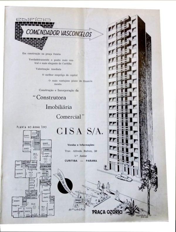 Anúncio de venda dos apartamentos do Edifício Comendador Vasconcelos em 1955.