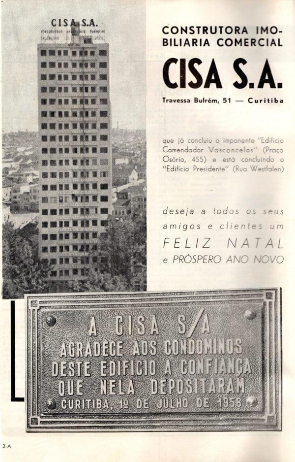 Anúncio da Construtora Cisa mencionando o Edifício Comendador Vasconcelos em 1958.