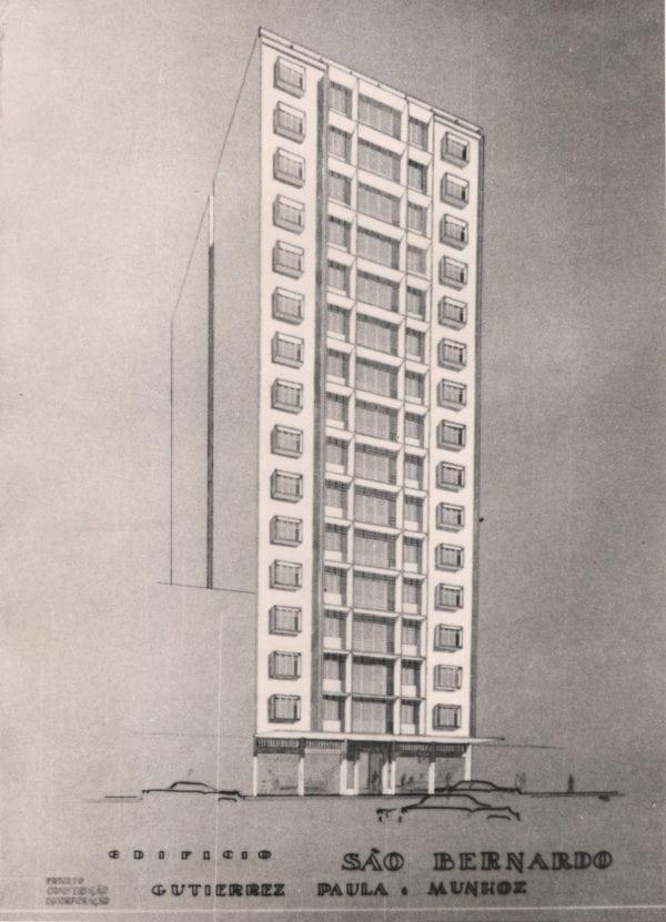 Perspectiva do Edifício São Bernardo; desenho de Romeu Paulo da Costa, s.d.