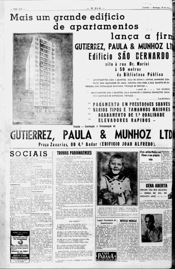 Anúncio de venda dos apartamentos do Edifício São Bernardo em 1956.
