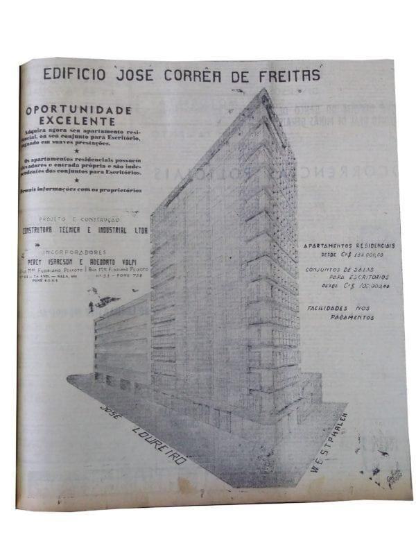 Anúncio de venda dos apartamentos do Edifício José Correia de Freitas em 1952.