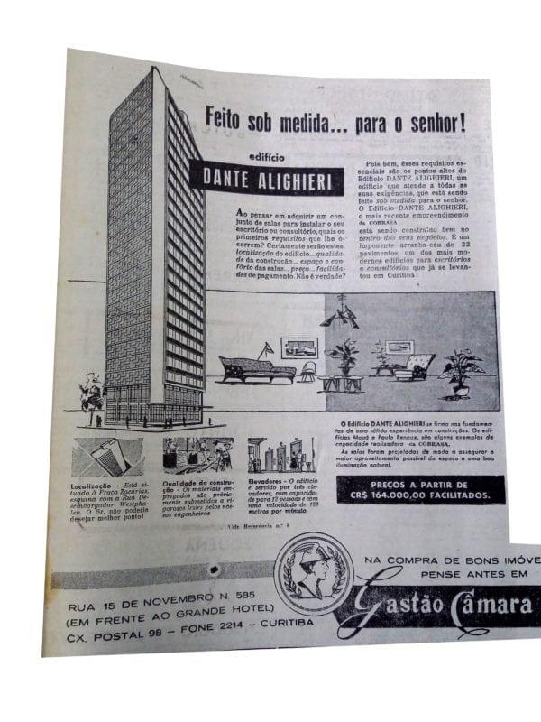 Anúncio de venda das unidades do Edifício Dante Alighieri em 1954.