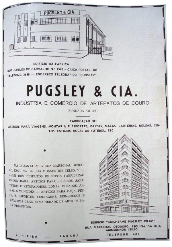 Anúncio da Loja Pugsley localizada no Edifício Guilherme Pugsley Filho, em 1953.