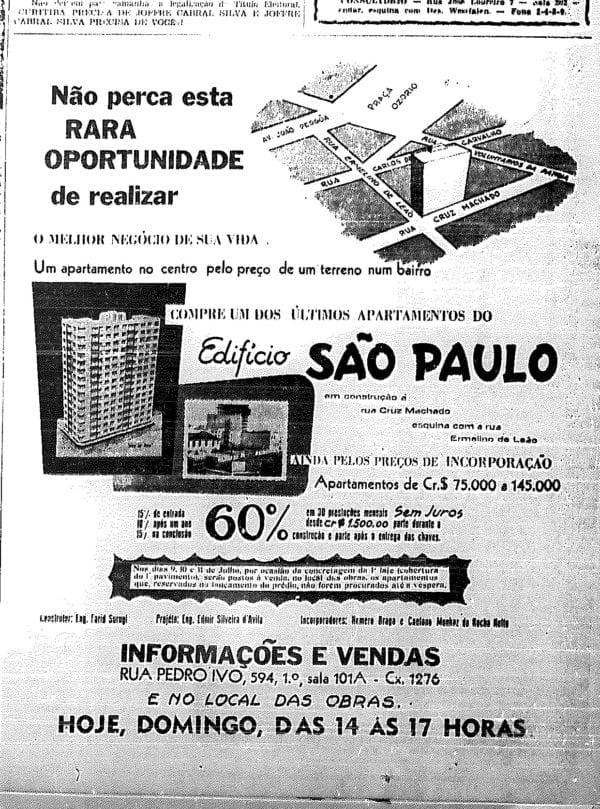 Anúncio de venda dos apartamentos do Edifício São Paulo em 1953.