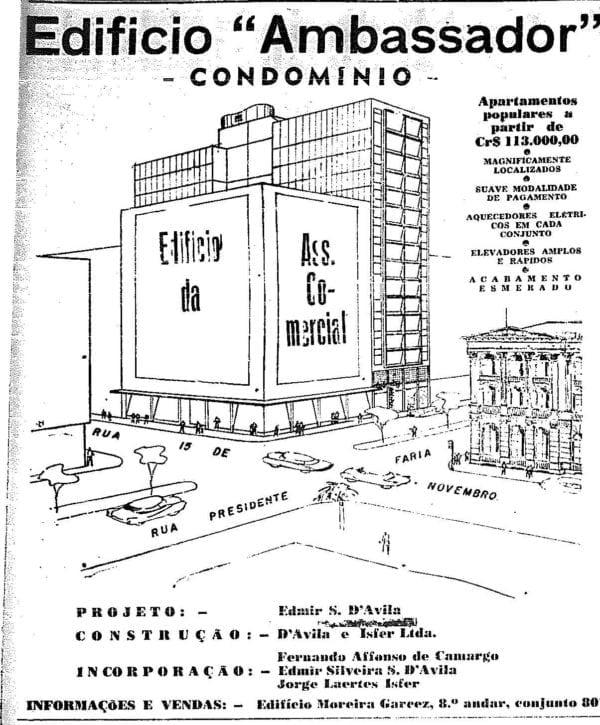 Anúncio de venda dos apartamentos do Edifício Ambassador em 1953.