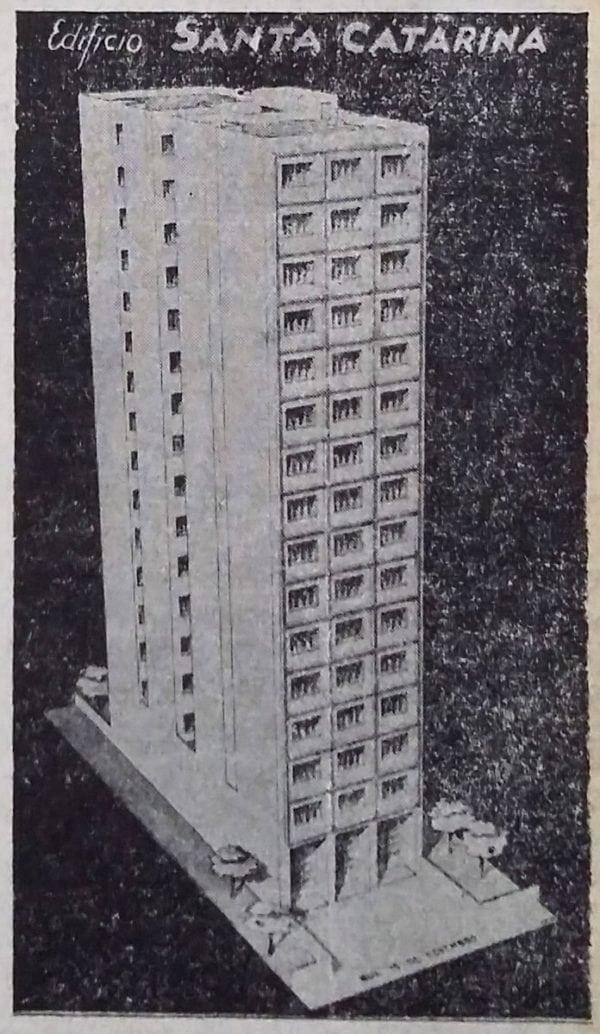 Anúncio de venda dos apartamentos do Edifício Santa Catarina em 1954.