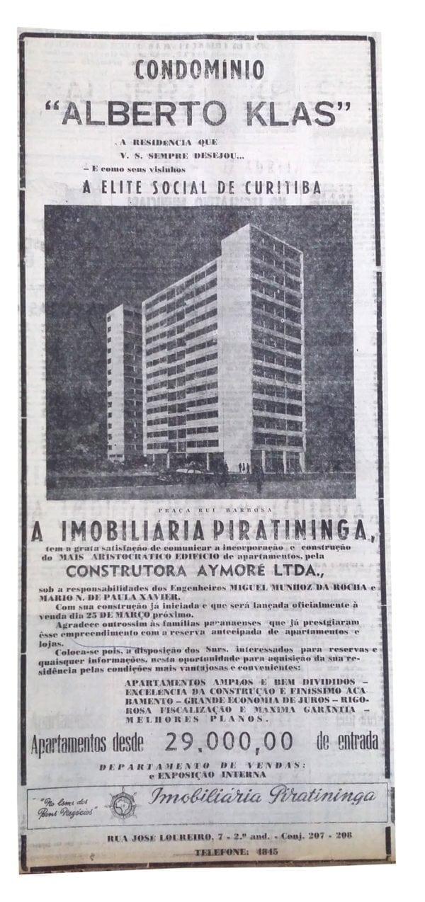 Anúncio de venda dos apartamentos do Edifício Alberto Klas em 1954.