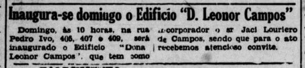 Anúncio da inauguração do Edifício Leonor Campos em 1954.
