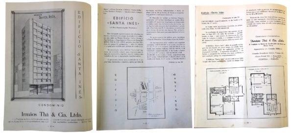 Anúncio de venda dos apartamentos do Edifício Santa Inês em 1954.