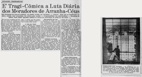 Matéria sobre o problema dos elevadores dos edifícios em altura de Curitiba em 1956.