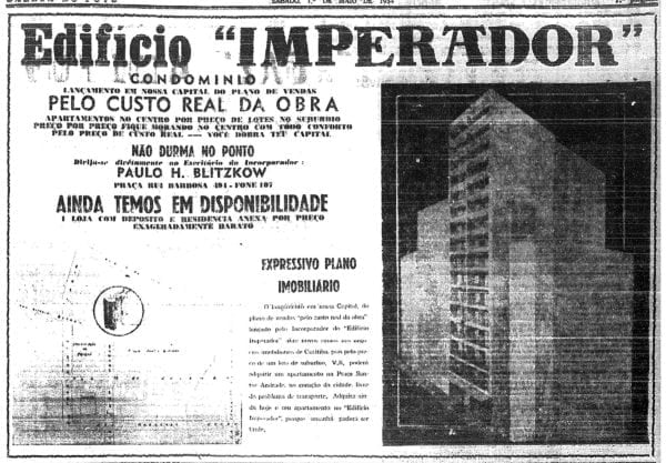 Anúncio de venda dos apartamentos do Edifício Imperador em 1954.