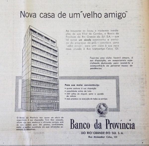 Anúncio da nova sede do Banco da Província do Rio Grande do Sul, em 1953.