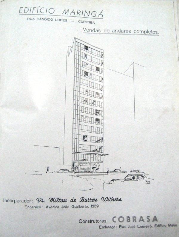 Anúncio de venda dos pavimentos do Edifício Maringá em 1955.