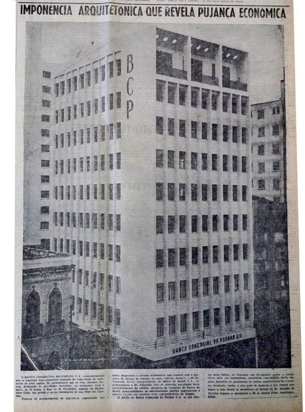 Matéria sobre a inauguração do Edifício do Banco Comercial do Paraná em 1957.