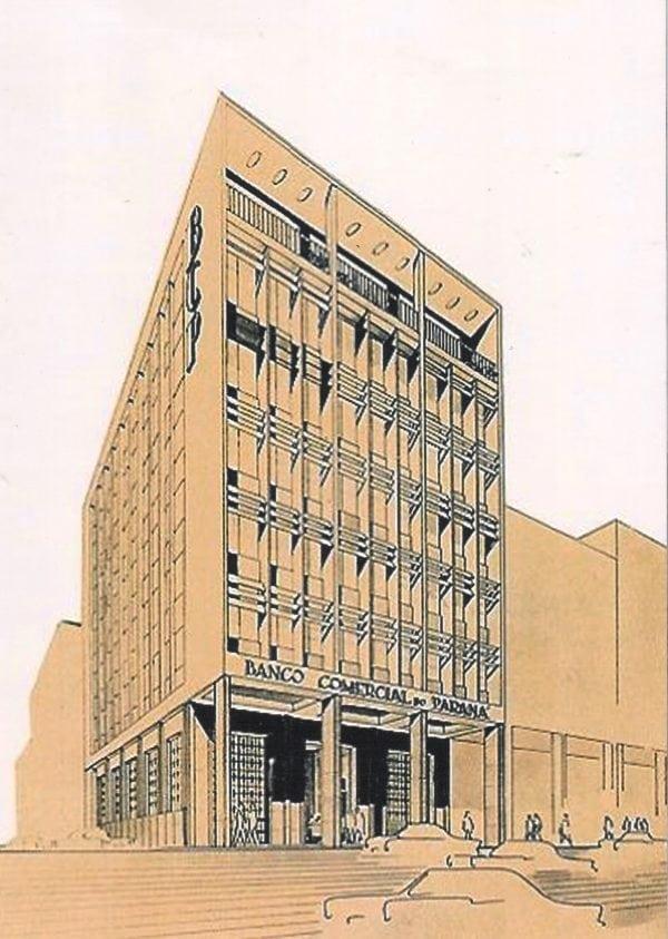 Perspectiva do Edifício do Banco Comercial do Paraná; desenho de Romeu Paulo da Costa, s.d.