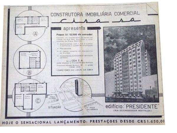 Anúncio de venda dos apartamentos do Edifício Presidente em 1955.