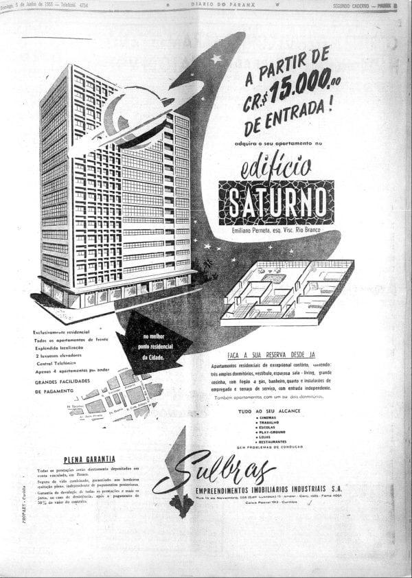 Anúncio de venda dos apartamentos do Edifício Saturno em 1955.