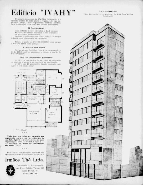 Anúncio de venda dos apartamentos do Edifício Ivahy em 1955.