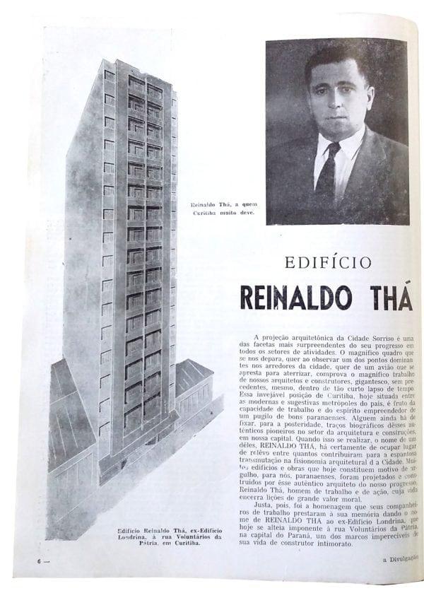 Anúncio de venda dos apartamentos do Edifício Reinaldo Thá em 1955.