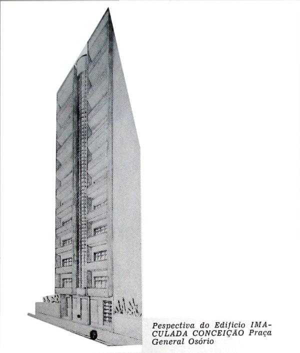 Perspectiva do Edifício Nossa Senhora da Conceição; desenho de 1952.