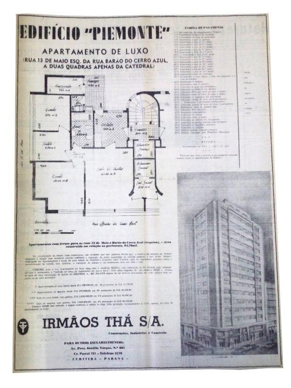 Anúncio de venda dos apartamentos do Edifício Piemonte em 1957.