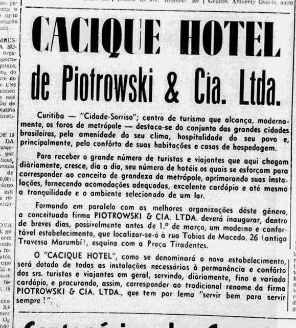 Anúncio do Cacique Hotel em 1957.