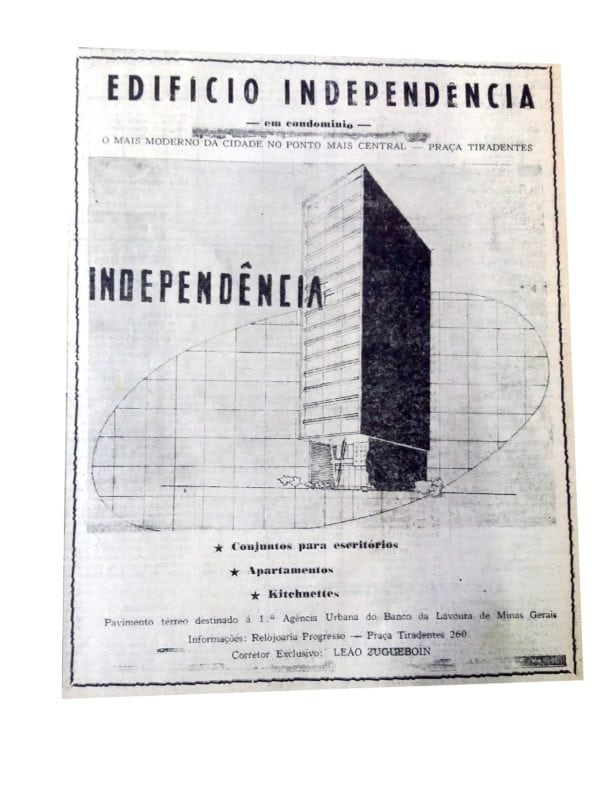 Anúncio de venda dos apartamentos do Edifício Independência em 1957.