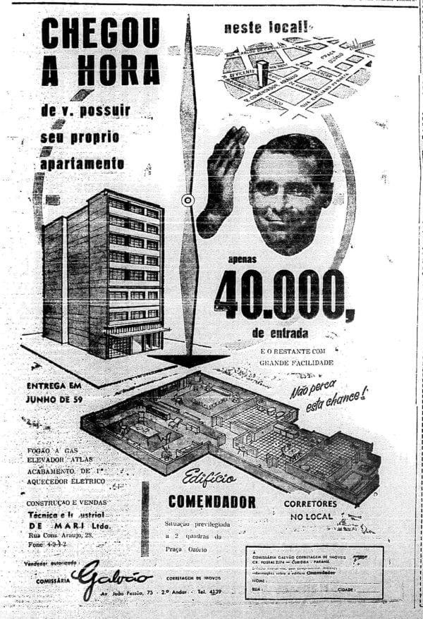 Anúncio de venda dos apartamentos do Edifício Comendador em 1958.