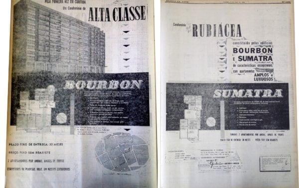 Anúncio de venda dos apartamentos do Condomínio Rubiácea em 1958.