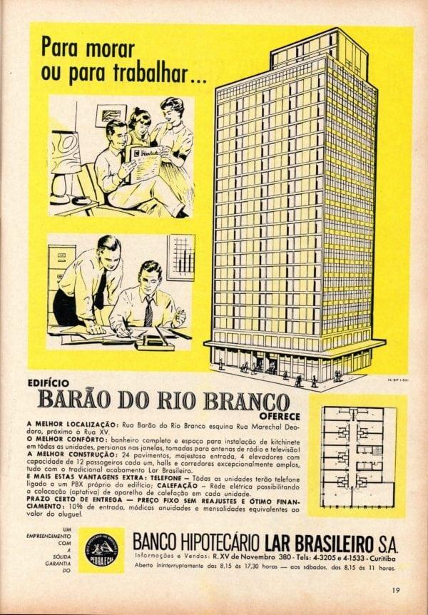 Anúncio de venda dos conjuntos comerciais ou pequenos apartamentos do Edifício Barão do Rio Branco em 1961.