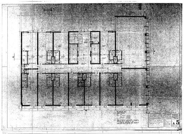 Planta do pavimento-tipo do Edifício Barão do Rio Branco; desenho de 1960.