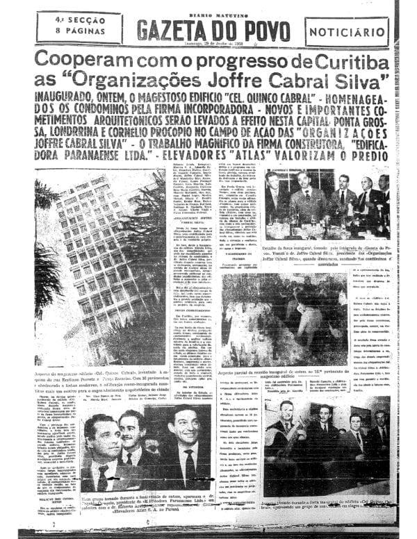 Matéria sobre a inauguração do Edifício Coronel Quinco Cabral em 1958.