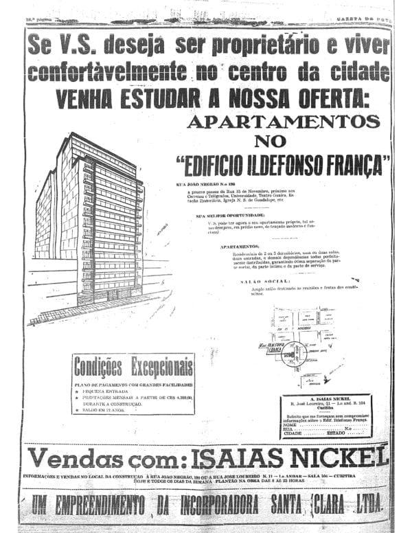 Anúncio de venda dos apartamentos do Edifício Ildefonso França em 1959.