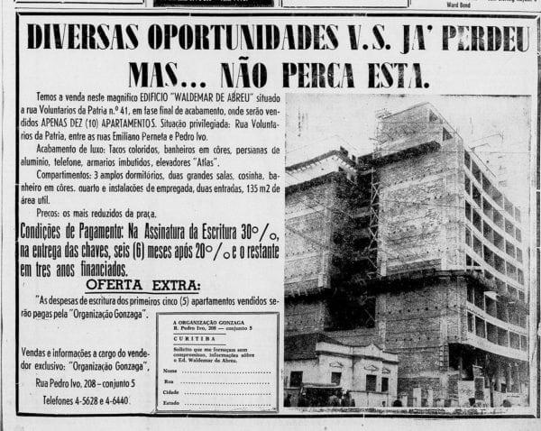 Anúncio de venda dos apartamentos do Edifício Waldemar de Abreu, em 1959.