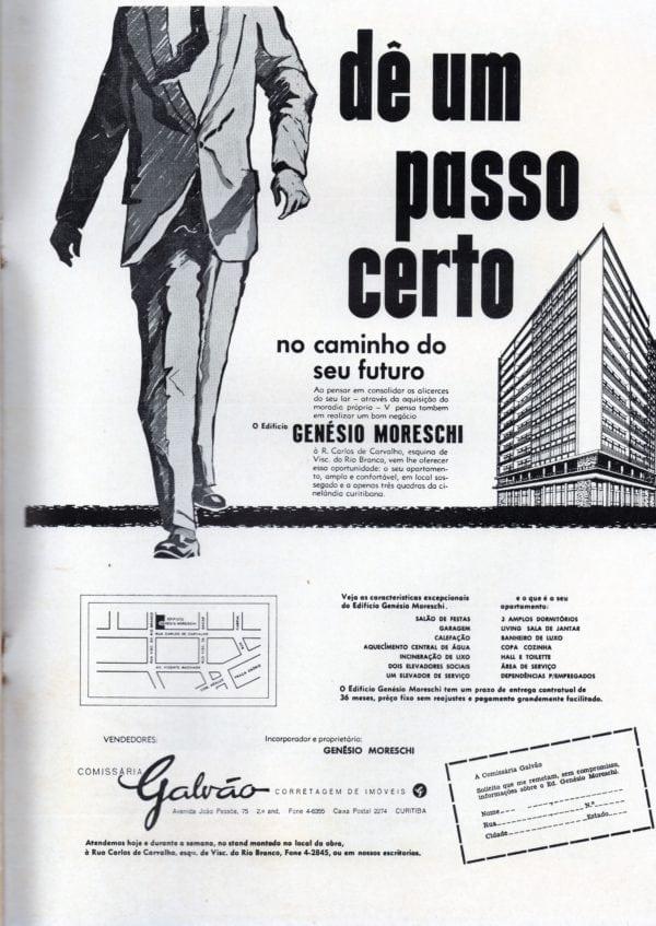 Anúncio de venda dos apartamentos do Edifício Genésio Moreschi em 1959.