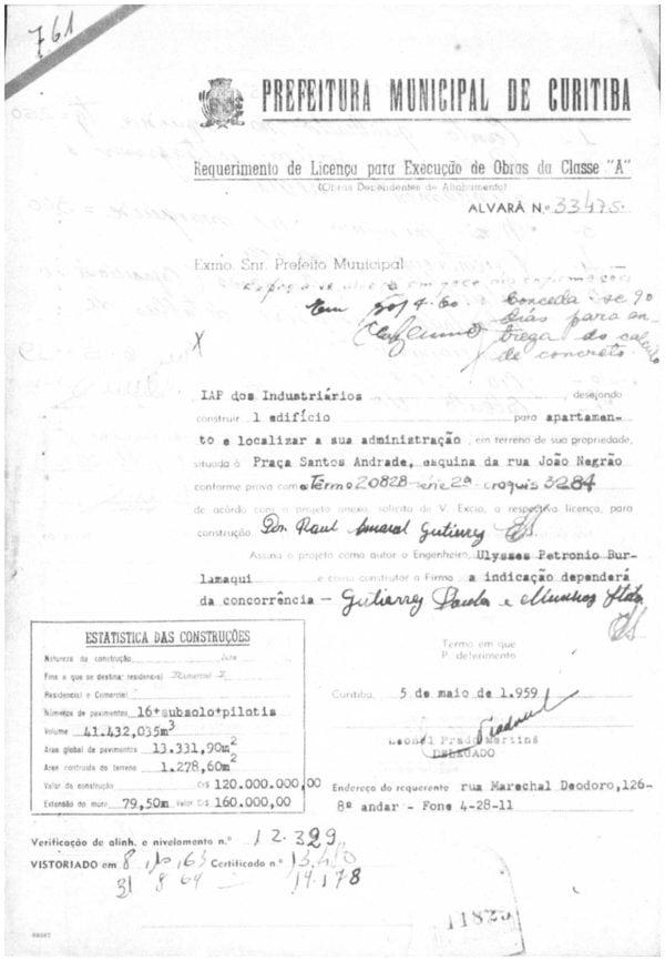 Requerimento de Licença para Execução de Obras do Edifício do IAPI em 1959.