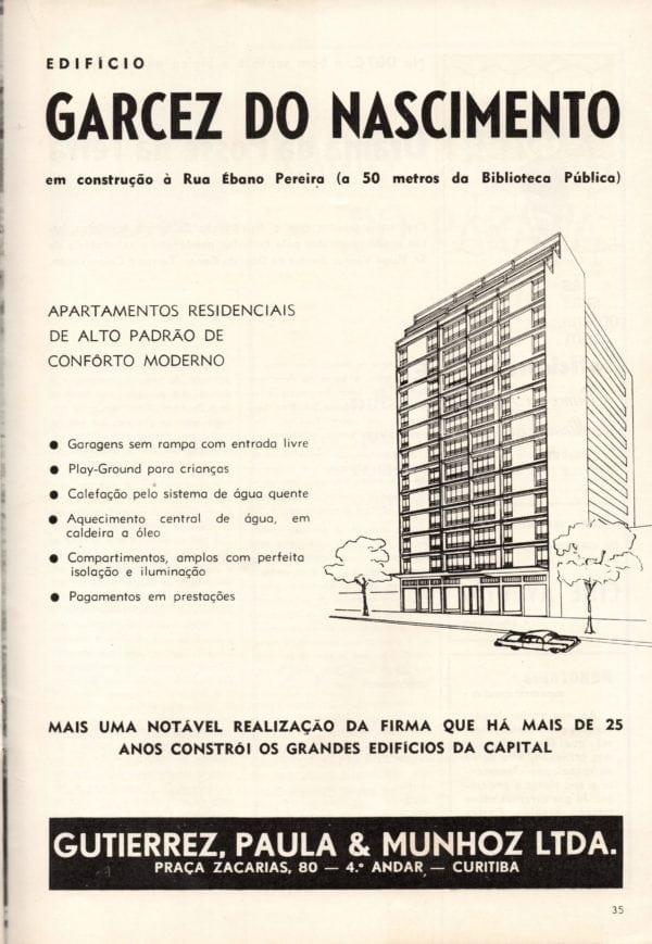Anúncio de venda dos apartamentos do Edifício Garcez do Nascimento em 1959.