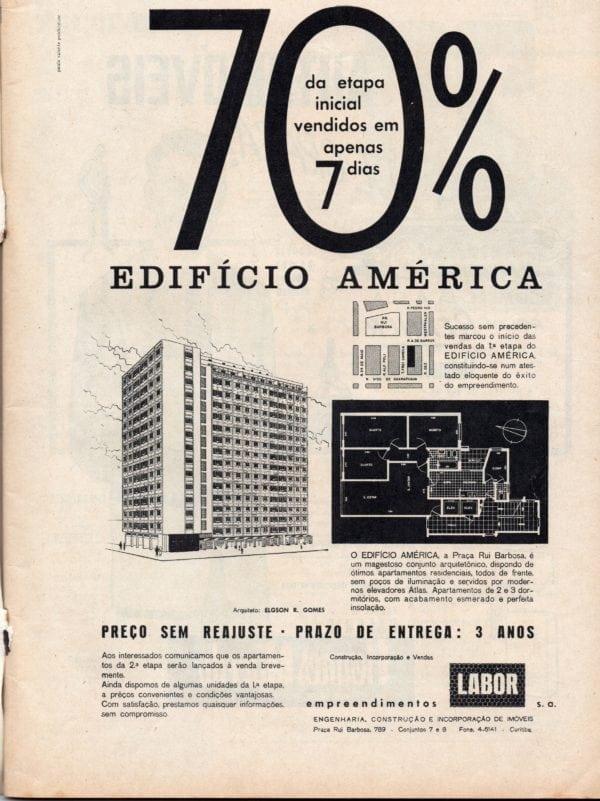 Anúncio de venda dos apartamentos do Edifício América em 1960.