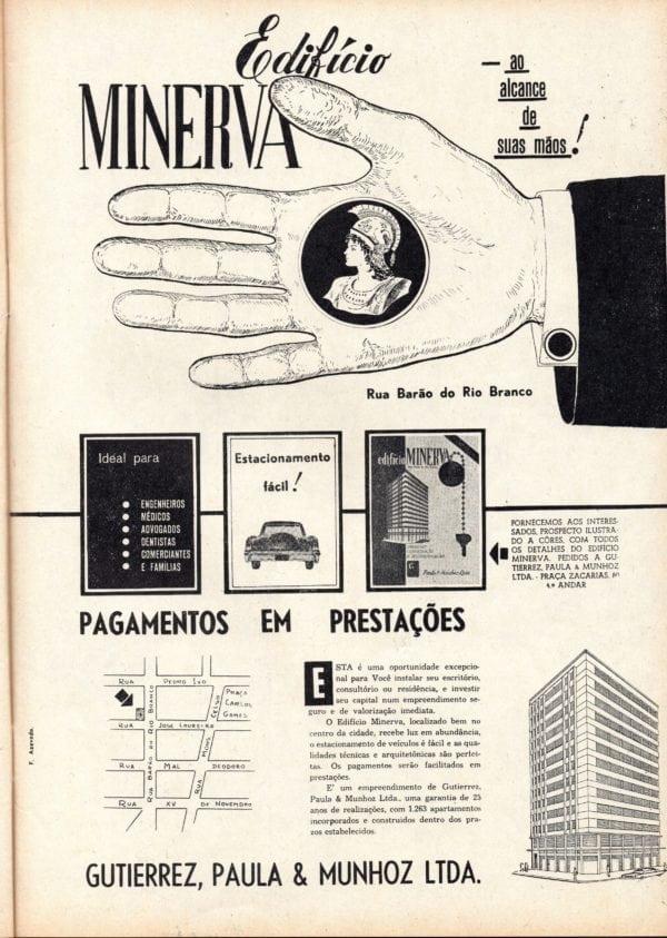 Anúncio de venda das unidades (comerciais ou residenciais) do Edifício Minerva em 1960.